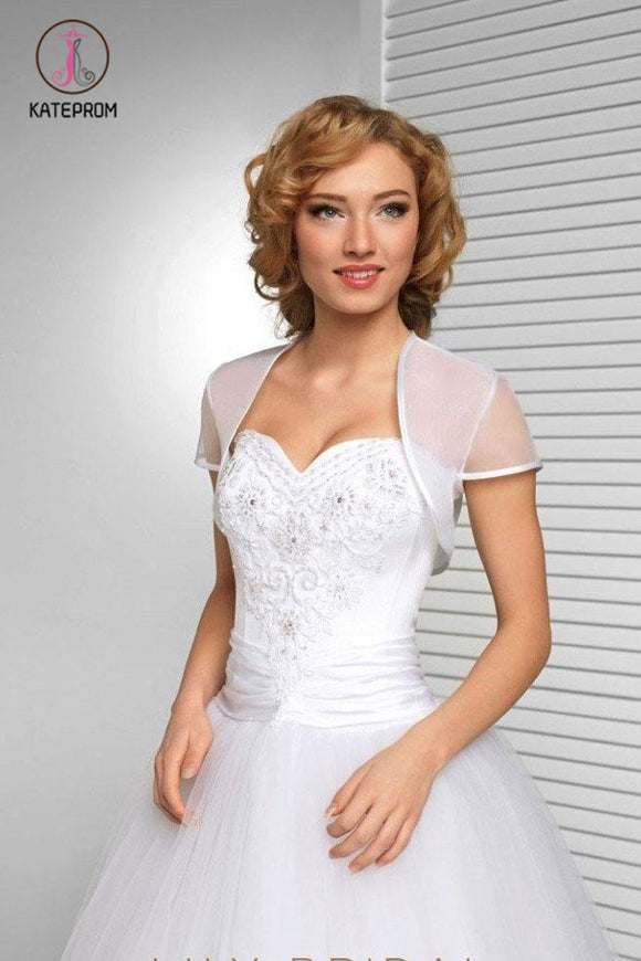 Kateprom White Short Sleeve Wedding Bolero Bridal Cape, Organza Wedding Wraps KPJ0018