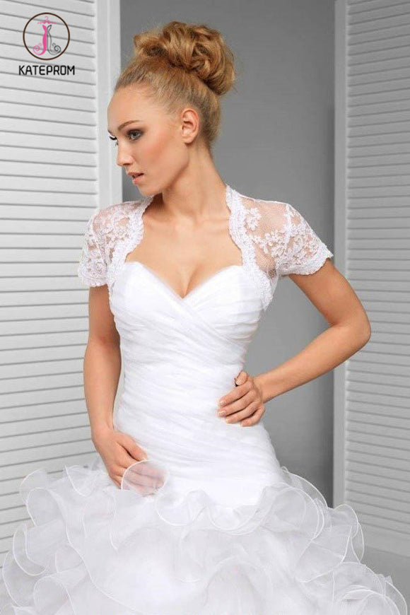 Kateprom Cheap Short Sleeve Scalloped Top Lace Bridal Jacket, Lace Wedding Wraps Jacket KPJ0003