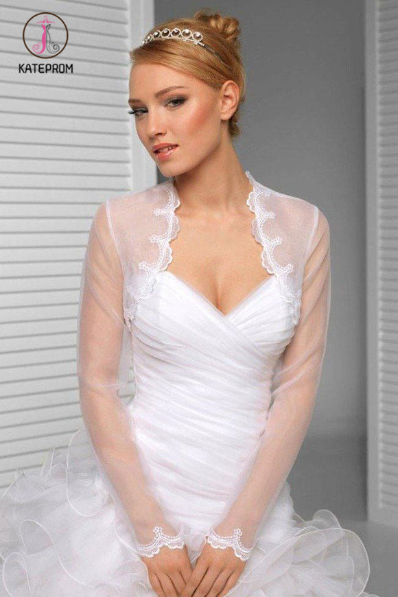 Kateprom White Scalloped Floral Lace Top Long Sheer Sleeve Wedding Shawl, Wedding Wraps KPJ0014