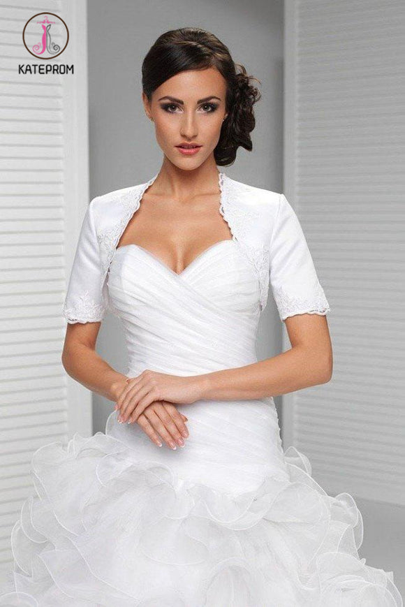 Kateprom White Appliqued Short Sleeve Satin Bridal Shrug, Satin Short Sleeves Wedding Jacket, Wedding Wraps KPJ0009