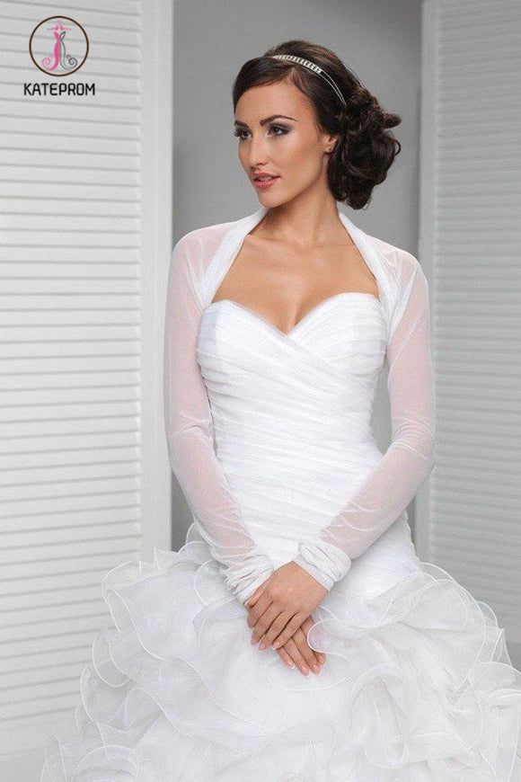 Kateprom White Long Sleeve Wedding Bolero Jacket, Cheap New Style Bridal Jacket, Wedding Wraps KPJ0012