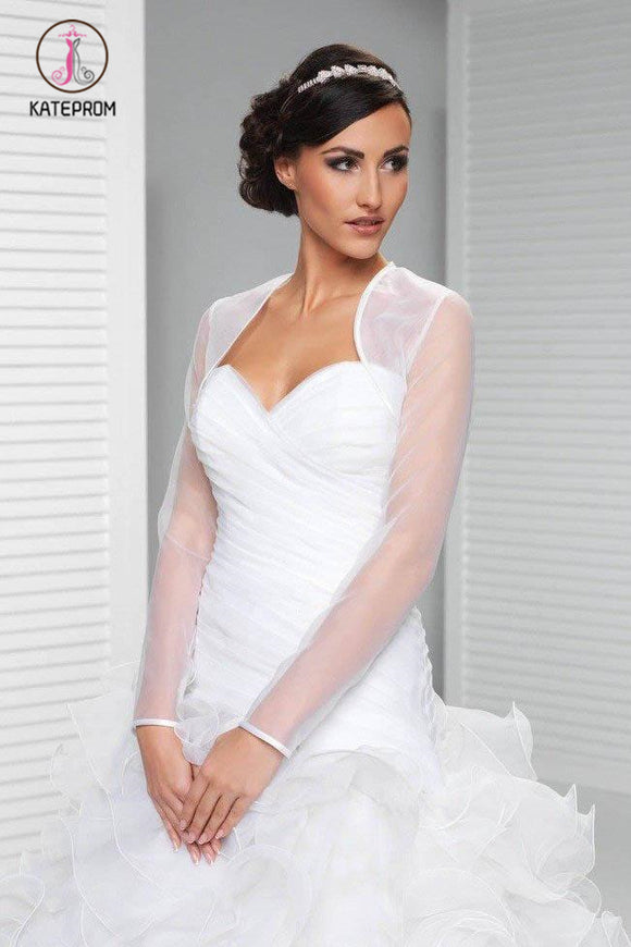 Kateprom Simple Sheer Organza Long Sleeve Wedding Bolero Shrug, Wedding Wraps Jacket KPJ0005