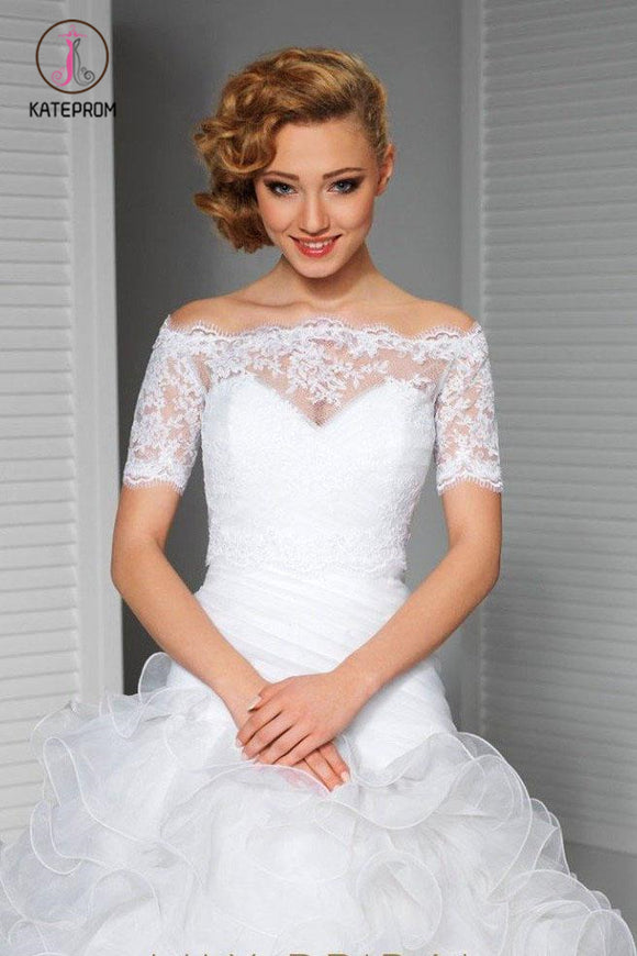 Kateprom Short Sleeve Off-the-Shoulder White Lace Bridal Jacket, Bridal Shawl, Wedding Wraps KPJ0007
