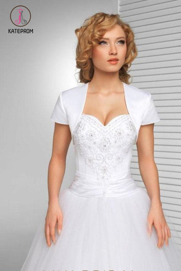 Kateprom Simple White Short Sleeve Satin Wedding Jacket, Cheap Bridal Jacket, Wedding Wraps KPJ0010