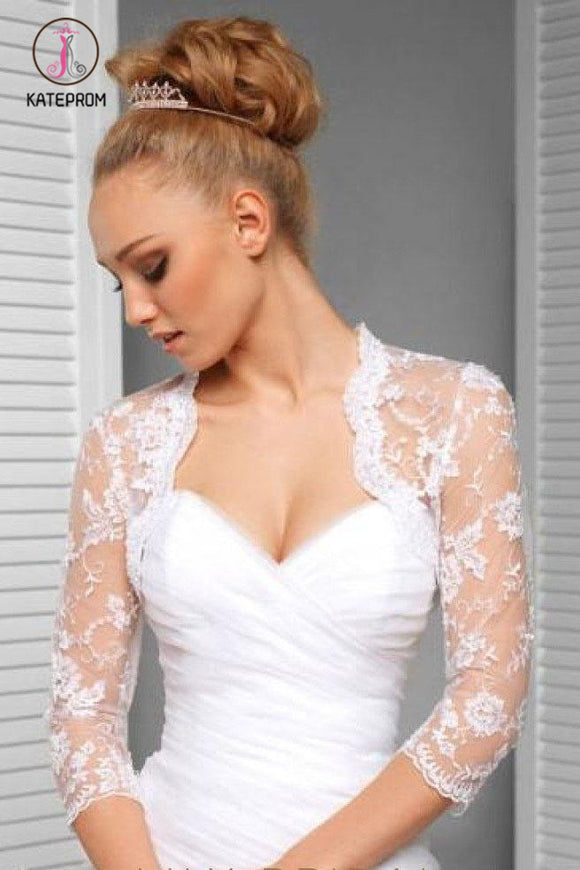 Kateprom 3/4 Sleeve Exquisite Lace Applique Bridal Jacket Scalloped Top Neck, Wedding Jacket Wraps KPJ0006