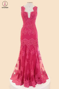 Deep V-neck Fuchsia Mermaid Long Lace Prom Dresses KPP0035