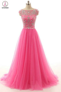 Hot Pink Beaded Long Zipper Modest Evening Prom Dresses KPP0032