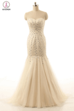 Mermaid Open Back Sweetheart Long Champagne Prom Dresses KPP0029