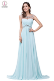 Light Sky Blue Backless Chiffon Long Beaded Prom Dresses KPP0028
