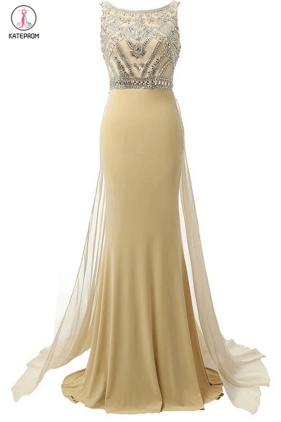 Beauty Mermaid Champagne Long Beaded Prom Party Dresses KPP0025