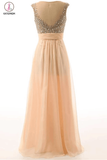Long Beaded A-line Open Back Elegant Prom Dresses KPP0024