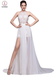 Lace Long Chiffon White Halter Open Back Prom Dresses KPP0022