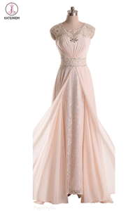 Pink Cap Sleeves Lace Long Beaded Chiffon Prom Dresses KPP0021