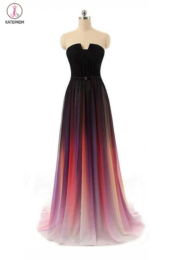 A-line Black Navy Blue Ombre Chiffon Long Prom Dress,Bridesmaid Dresses KPP0018