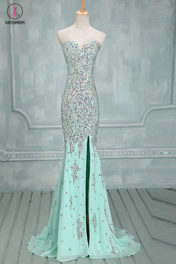 Mermaid Beaded Mint Front Split Long Prom Dress Evening Dresses KPP0016