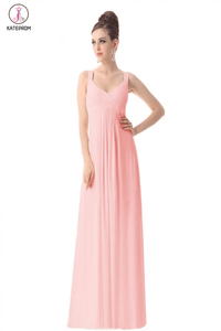 Newest Simple Pink Chiffon Long Prom Bridesmaid Dresses KPP0052