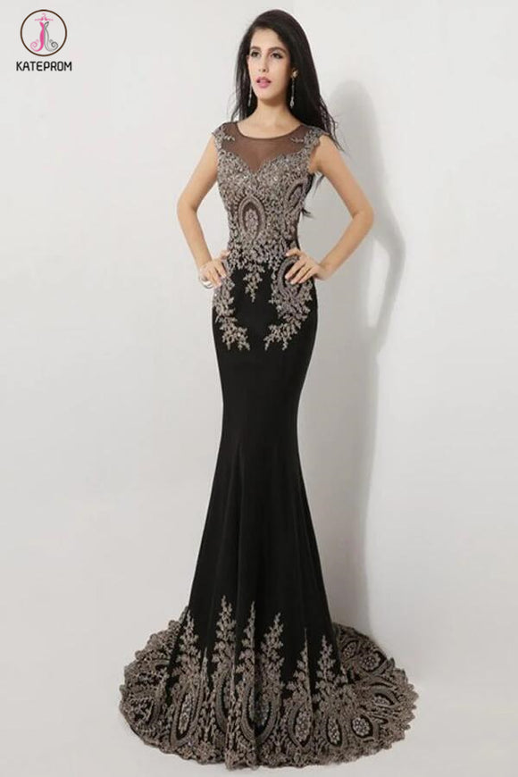 Sweep Train Black Long Cap Sleeve Beaded Prom Dresses KPP0051