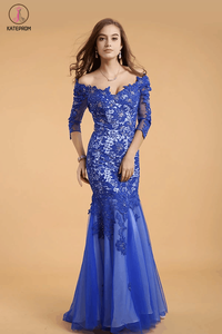 Lace V-neck Blue Half Sleeves Backless Long Prom Dresses KPP0049