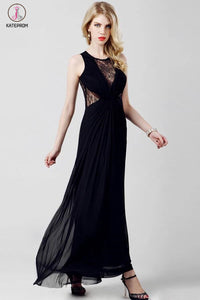 Elegant Chiffon Long Black Lace Simple Prom Dresses KPP0048