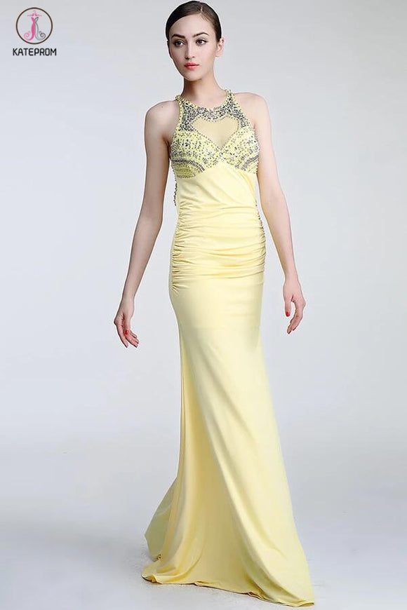 Daffodil Long Beaded Open Back Prom Evening Dresses KPP0046