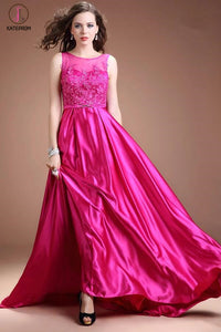 Fuchsia Long Satin Lace Beaded Cap Sleeves Prom Dresses KPP0045