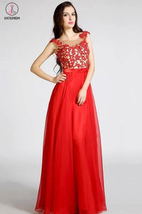 Open Back Red Long Lace Beaded Prom Evening Dresses KPP0044