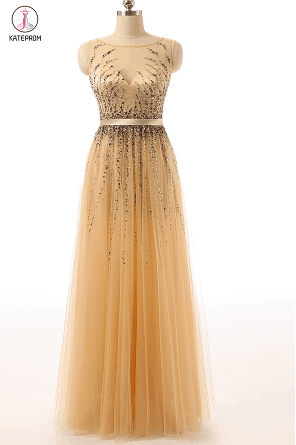 Beaded Gold Long Cap Sleeves Modest Prom Party Dresses KPP0063