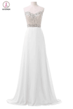 White Chiffon Sweetheart Beaded Long Prom Evening Dresses KPP0065