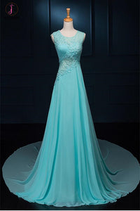 Long Lace Beaded Chiffon Modest Empire Prom Dresses KPP0067