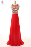 Beaded Long Prom Dress Red Chiffon Cheap Evening Gowns KPP0068