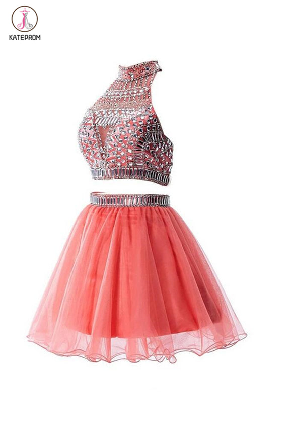 Watermelon Two Pieces Backless Short Prom Homecoming Dresses KPH0021