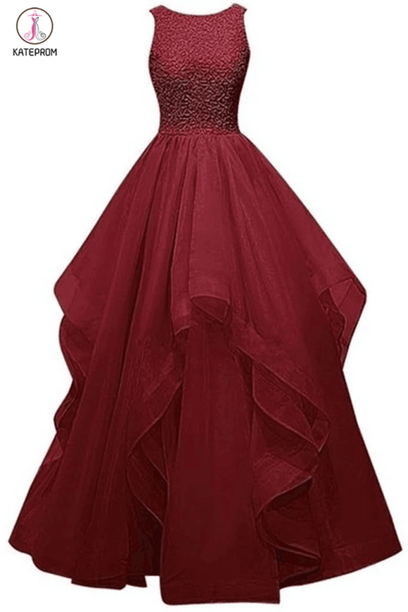 Charming A-Line Organza Sleeveless Prom Dress Evening Dress with Beading KPP0071