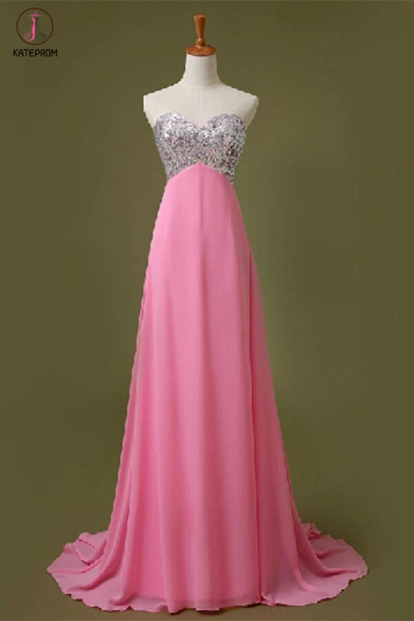 Sweetheart A-Line Beading Chiffon Prom Dress KPP0073