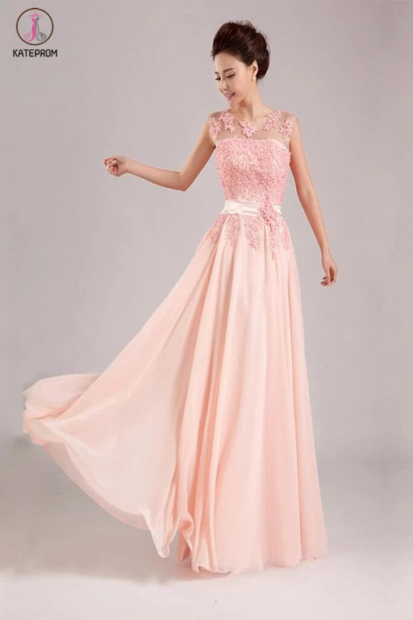 Appliques Long Prom Dress Chiffon Evening Dress KPP0092