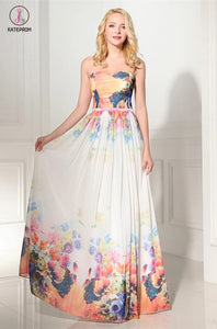 New Arrival Charming Simple Printing Long Prom Dress KPP0101
