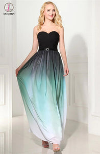 Custom Made Ombre A-Line Chiffon Long Prom Dress KPP0102