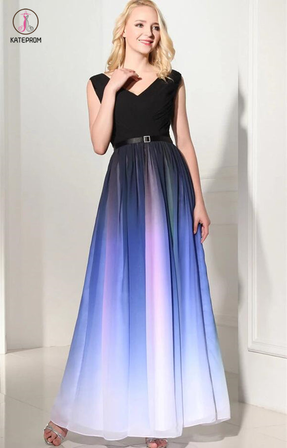Ombre Custom Made Long Charming Chiffon Prom Dress KPP0106
