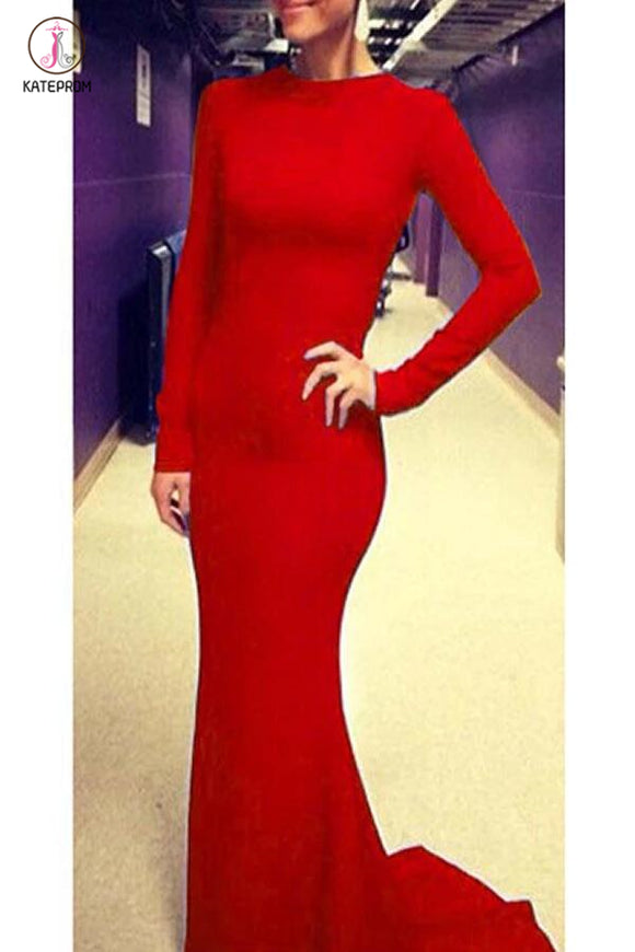 Newest Charming Red Long Sleeve Backless Prom Dress KPP0108