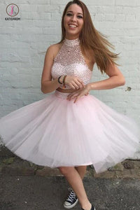 Two Pieces Pink Tulle Short Prom Gowns Homecoming Dresses KPH0022