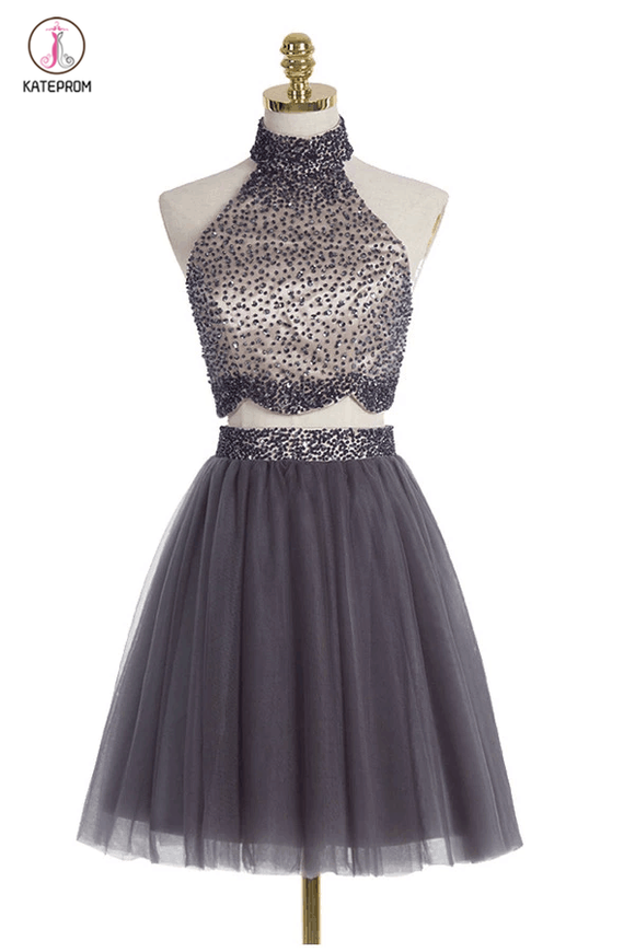 Two piece High Neck Gray Beading Homecoming Dresses KPH0023