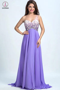 One-Shoulder Chiffon Prom Dresses Homecoming Dress with Beading KPP0115