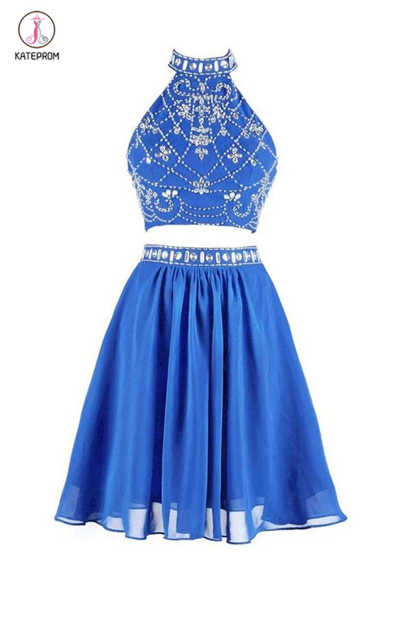 Two-piece High Neck Short Blue Chiffon Prom Dresses Homecoming Dresses KPH0026