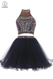 Two-piece High Neck Navy Blue Organza Homecoming/Prom Dresses KPH0027