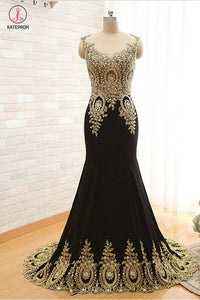 Mermaid Satin Appliques Beading Prom Dresses Evening Dress KPP0120