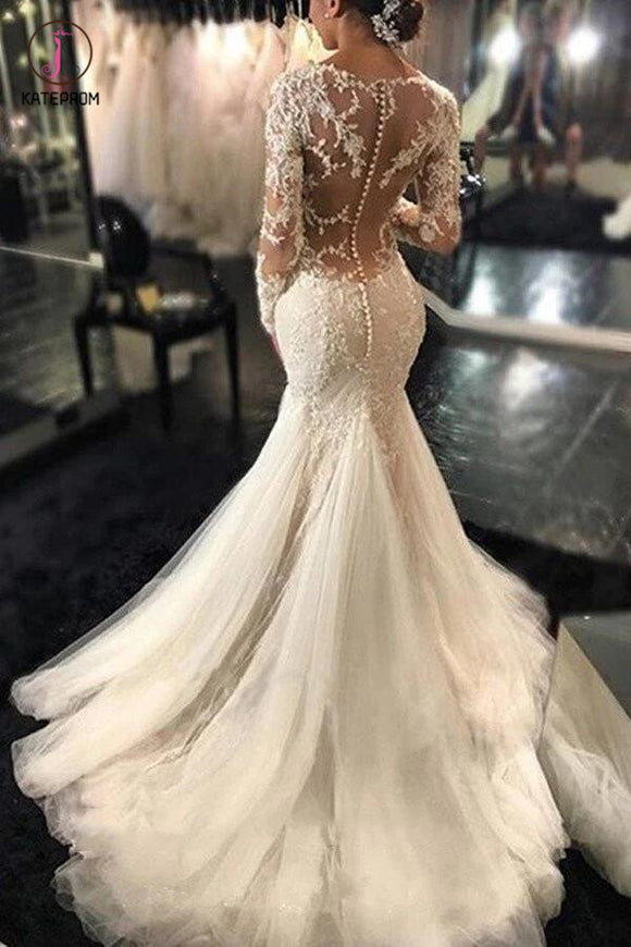 Gorgeous Long Sleeves Mermaid V-neck Wedding Gown,Ivory Bridal Dress With Lace Appliques KPW0035