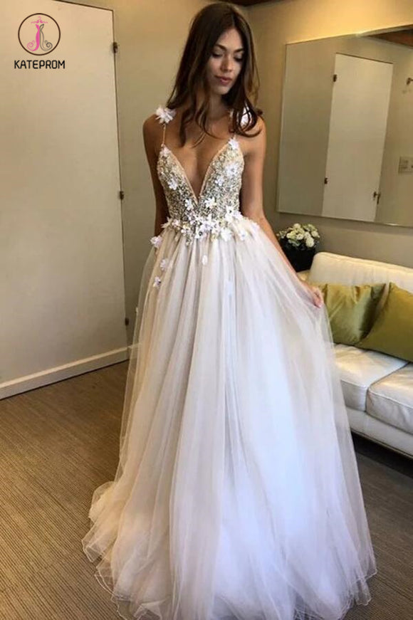 Deep V-neck Beading Prom Dresses,Straps Tulle Appliques A-line Custom Beach Wedding Dress KPW0033