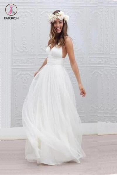 Beach Wedding Dress,Ivory Spaghetti Straps Wedding Gown,V Neck Backless Bridal Dress KPW0029
