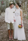 Simple Jewel Sleeveless Wedding Gown,Lace Top Wedding Dress,Tulle Beach Wedding Dress KPW0027