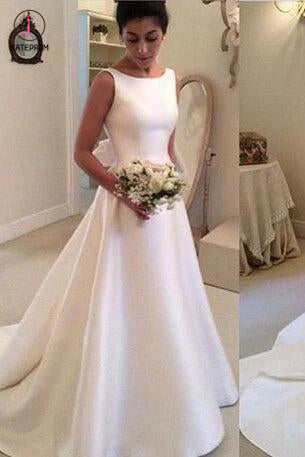 Classic Satin A Line Backless Wedding Dress,Long Backless Wedding Dresses with Bowknot KPW0026