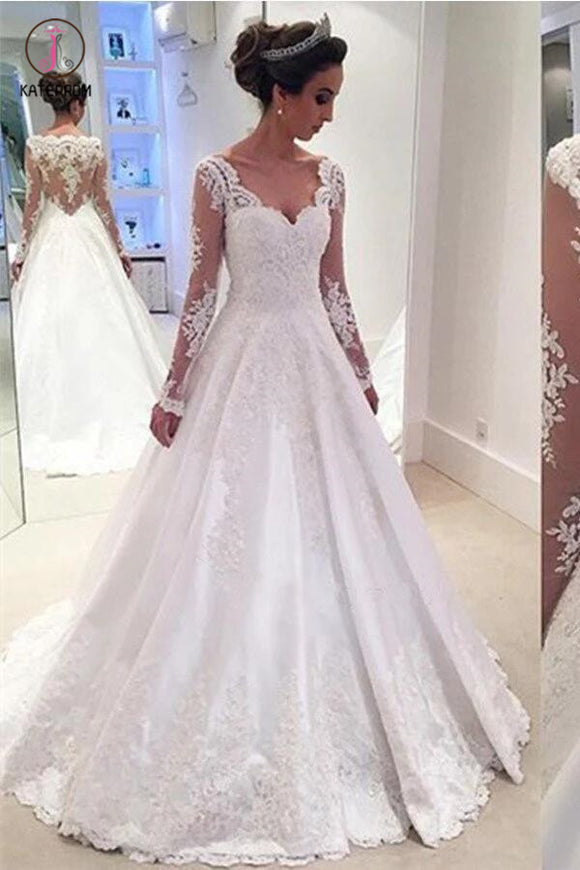 Elegant A-line V Neck Long Sleeves Wedding Dress With Appliques KPW0022